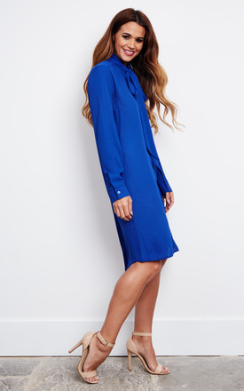 HETTY - Blue Pussybow Shirt Dress by Blue Vanilla