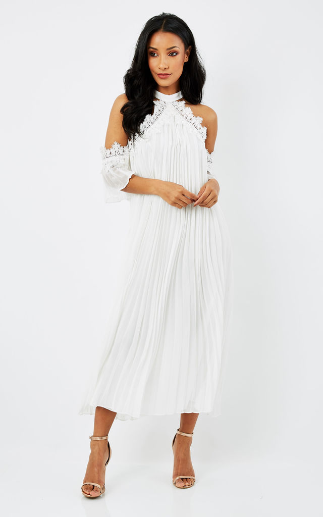 WHITE COLD SHOULDER SHEER FLOARY DRESS by True Decadence