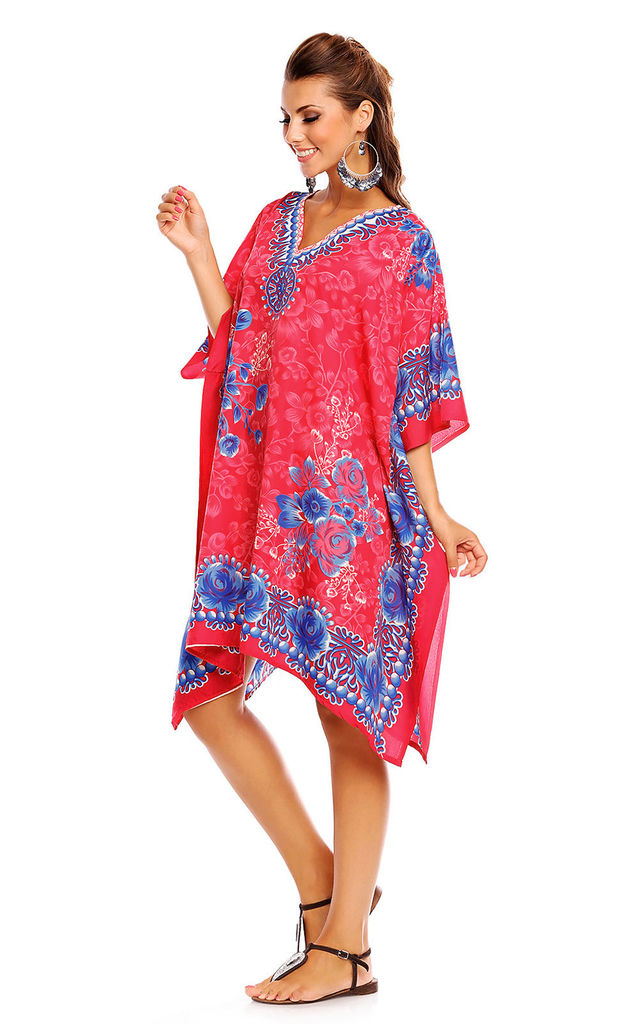 Kaftan style mini dress in pink by Looking Glam