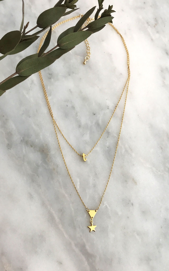 Tiny Initial Multi Row Necklace by DOSE of ROSE