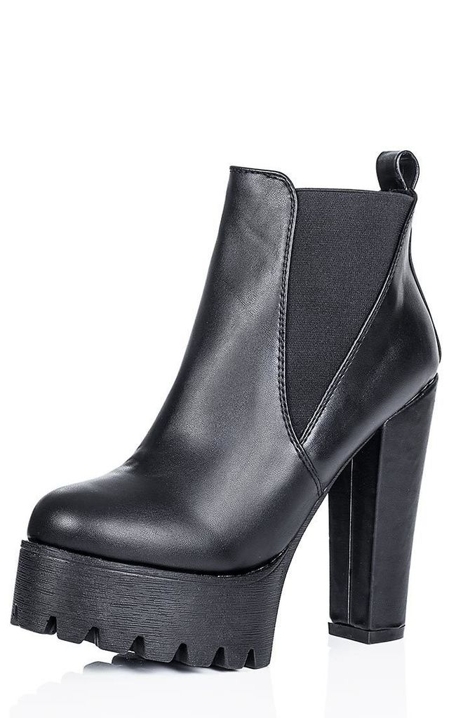 JOLT Cleated Sole Platform Chelsea Ankle Boots - Black Leather Style by SpyLoveBuy