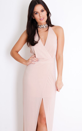 Calista Embellished Plunge Cut-Out Evening Maxi Dress Nude by Girl In Mind