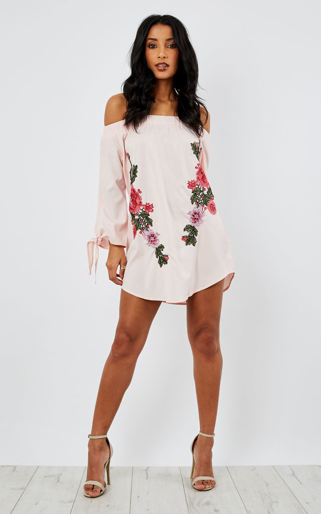 PINK BARDOT SHIRT DRESS WITH EMBROIDERY by AX Paris