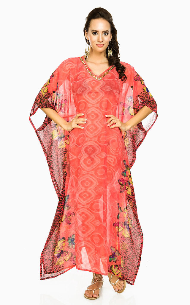 Oversized Maxi Kimono Beach Kaftan in Orange by Looking Glam
