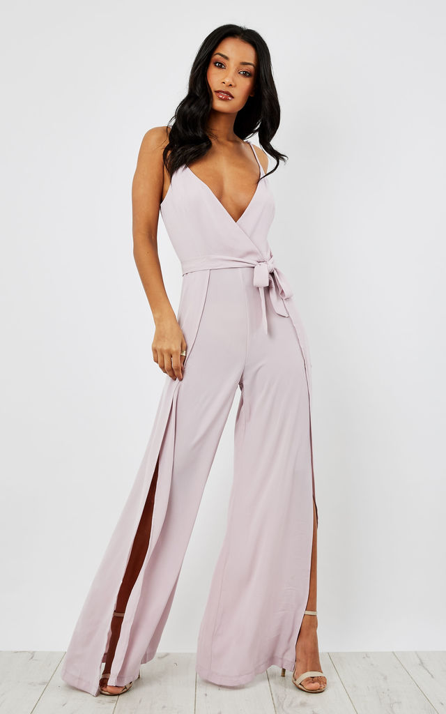 Split Leg Wrap Over Jumpsuit by Oeuvre