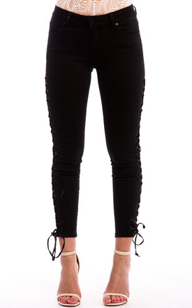 Lace side Up Jeans in Black by Npire London
