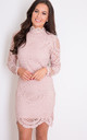 Lilah Lace High Neck Long Sleeve Mini Dress Mauve by Girl In Mind