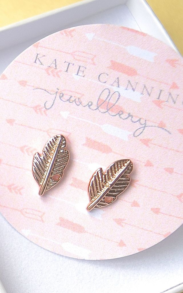 Rose Gold Feather Studs by Kate Canning Jewellery