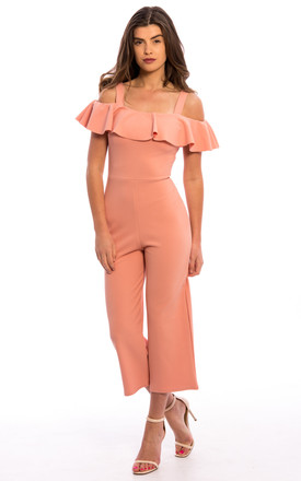 Frill Wide Leg Jumpsuit - Blush Pink by Npire London