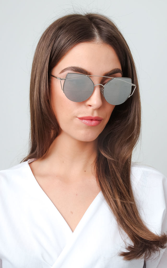 Cat Eye Bar Sunglasses - Silver by Pretty Lavish