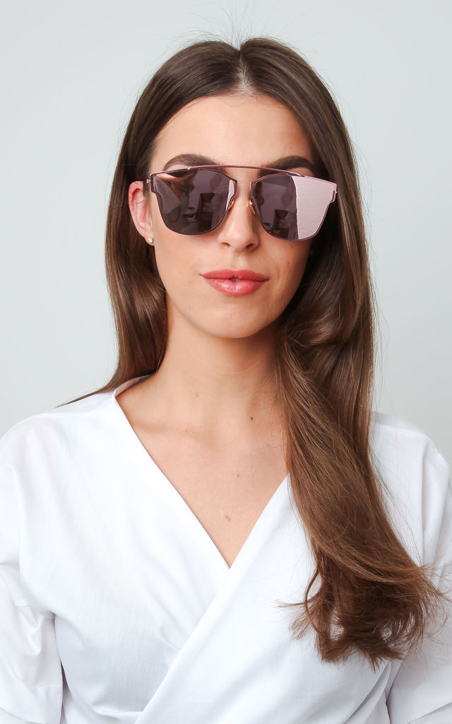 Mirrored Frameless Sunglasses - Pink by Pretty Lavish
