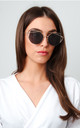 Cat Eye Bar Sunglasses - Black & Gold by Pretty Lavish