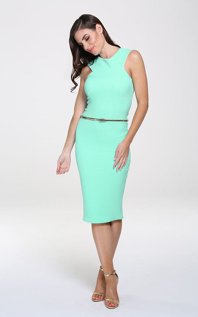 Nikki Mint Bodycon Midi Dress by Honor Gold