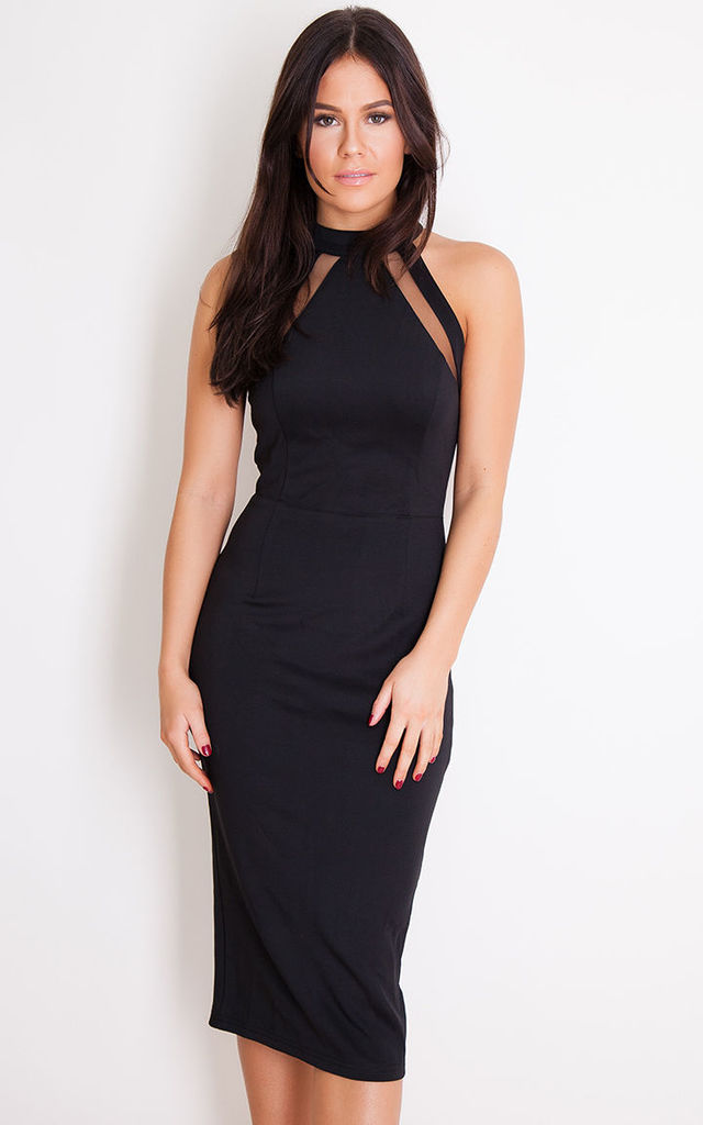 Alesia Mesh Panel Bodycon Midi Dress Black Silkfred