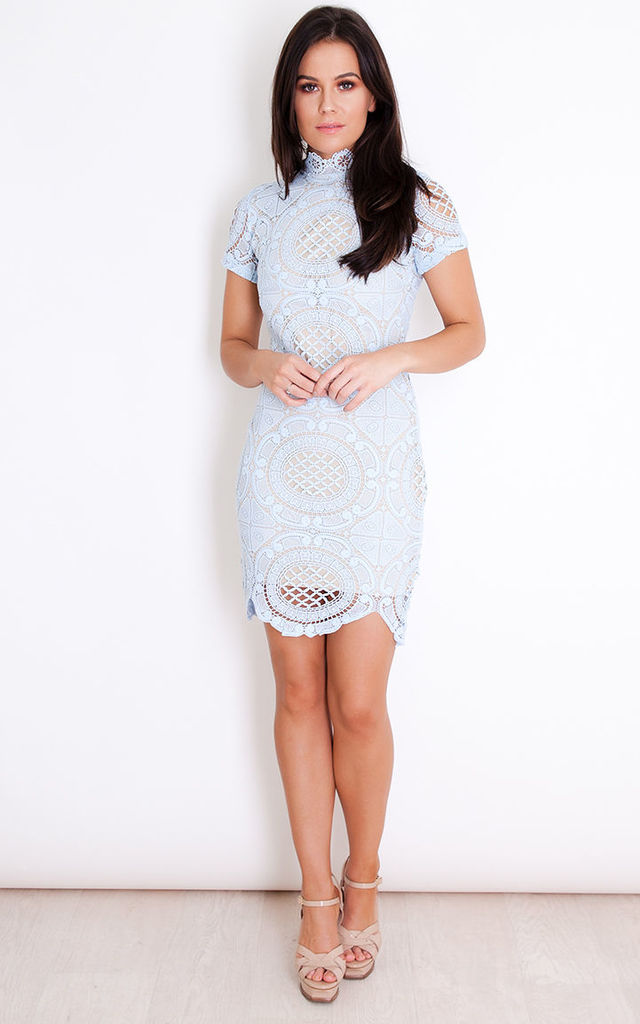 Lilah Lace High Neck Short Sleeves Mini Dress Powder Blue by Girl In Mind