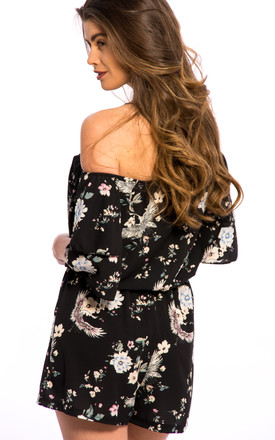 Off Shoulder Floral Print Playsuit -Black by Npire London