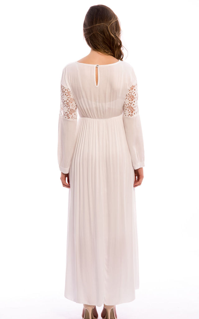 Crochet Lace Detail Long Sleeves Maxi Dress- White by Npire London