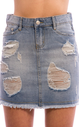 Distressed Ripped Mini Denim Skirt by Npire London