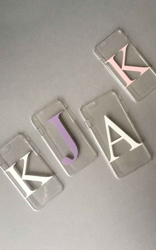 Clear and dusty pink alphabet phone case by Rianna Phillips