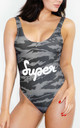 Tiger Camo Swimsuit in Grey by *BY COLORSUPER