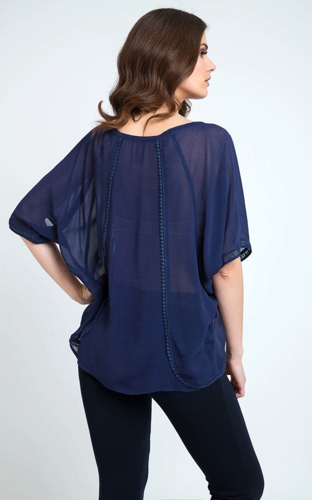 Sheer Boho Top Navy by Conquista Fashion