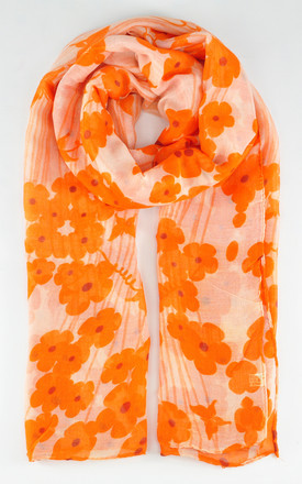 Lightweight scarf in orange floral print by GOLDKID LONDON