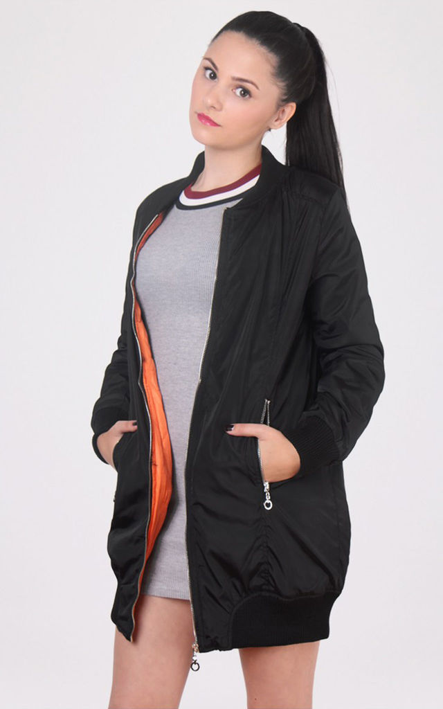 Long Line Satin Bomber Jacket by Miss Truth