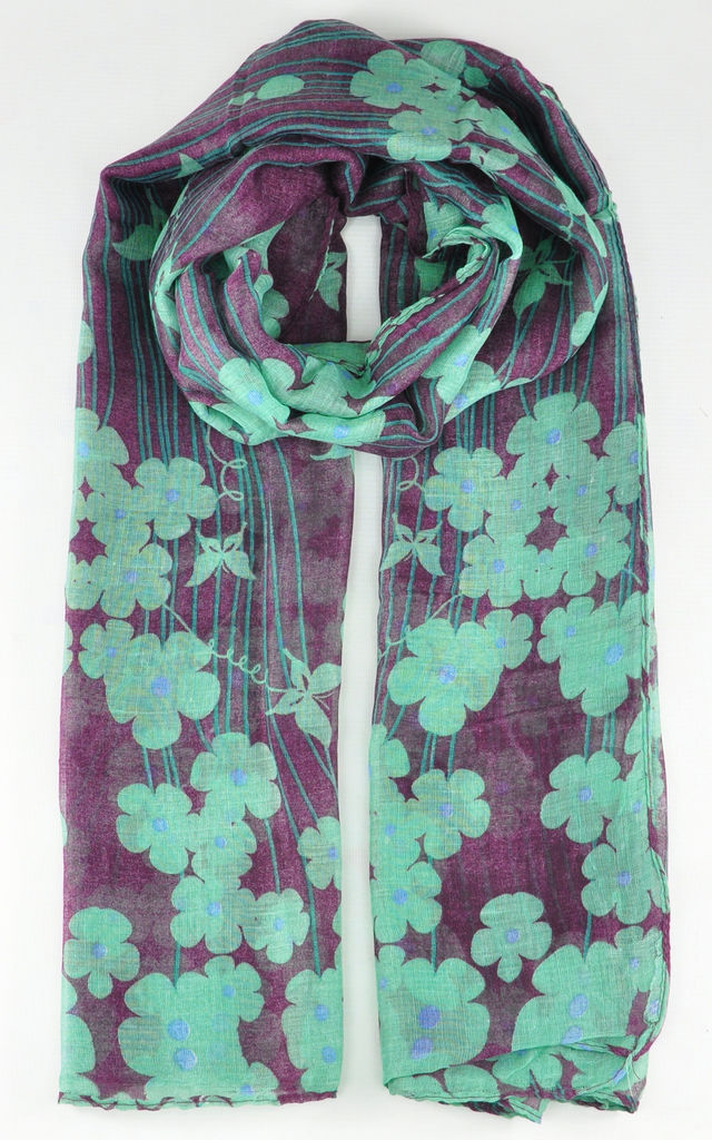 396e2136b2f04 Lightweight Scarf In Green Floral Print | GOLDKID LONDON | SilkFred