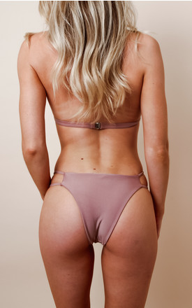 Halterneck Strappy Triangle Bikini - Dusty Pink by Pretty Lavish