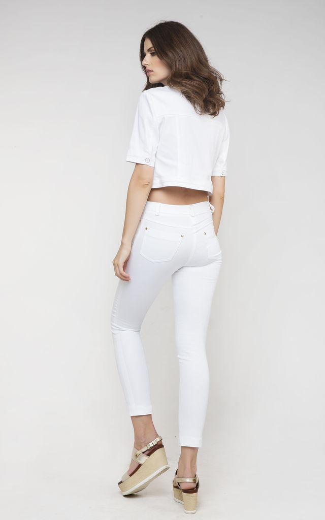 White Cropped Jacket by Conquista Fashion