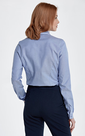 Shirt with asymmetrical collar - blue by so.Nife