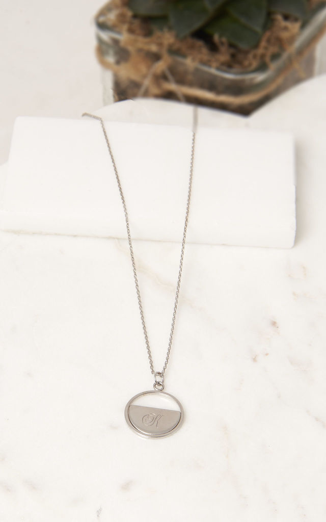 Personalised Half Disc Pendant White Gold by DOSE of ROSE
