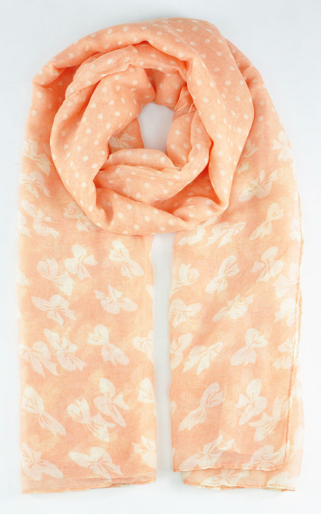 Butterfly print scarf in peach by GOLDKID LONDON