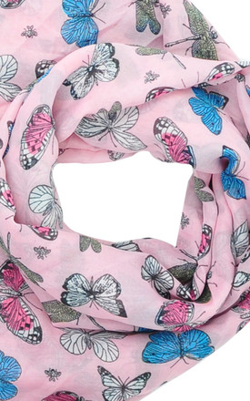 Lightweight Scarf in Pink Butterfly Print by GOLDKID LONDON