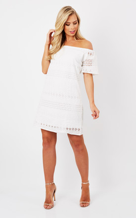 White Bardot Embroidered Dress by Oeuvre Product photo