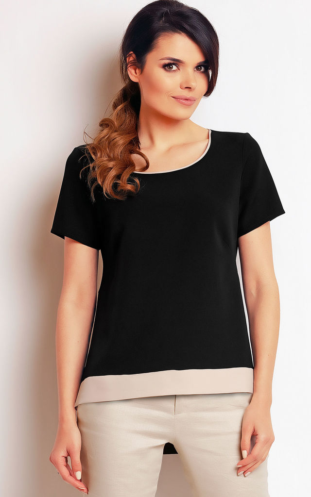 Black Long Back Short Sleeve Top by AWAMA