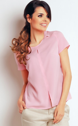 Pink Short Sleeve Round Neck Top by AWAMA