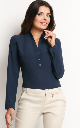 Navy Blue Long sleeve V Neck Shirt by AWAMA