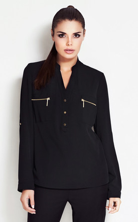 Black V-neck Shirt With Front Zipper Pockets by AWAMA
