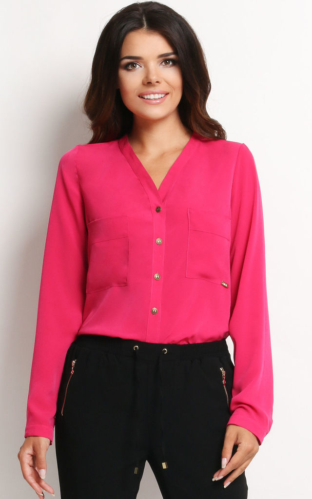 Pink V Neck Front Pockets Shirt by AWAMA