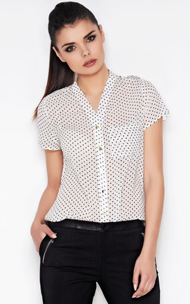 Ecru Delicate Blouse In White Dots by AWAMA