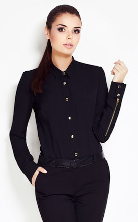 Black Classic Shirt With Shiny Buttons And Zippers On Sleeves by AWAMA
