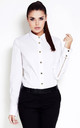 White Classic Shirt With Shiny Buttons And Zippers On Sleeves by AWAMA