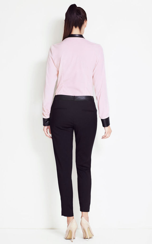 Pink Light Fabric Shirt With Suede Leather Insertions by AWAMA