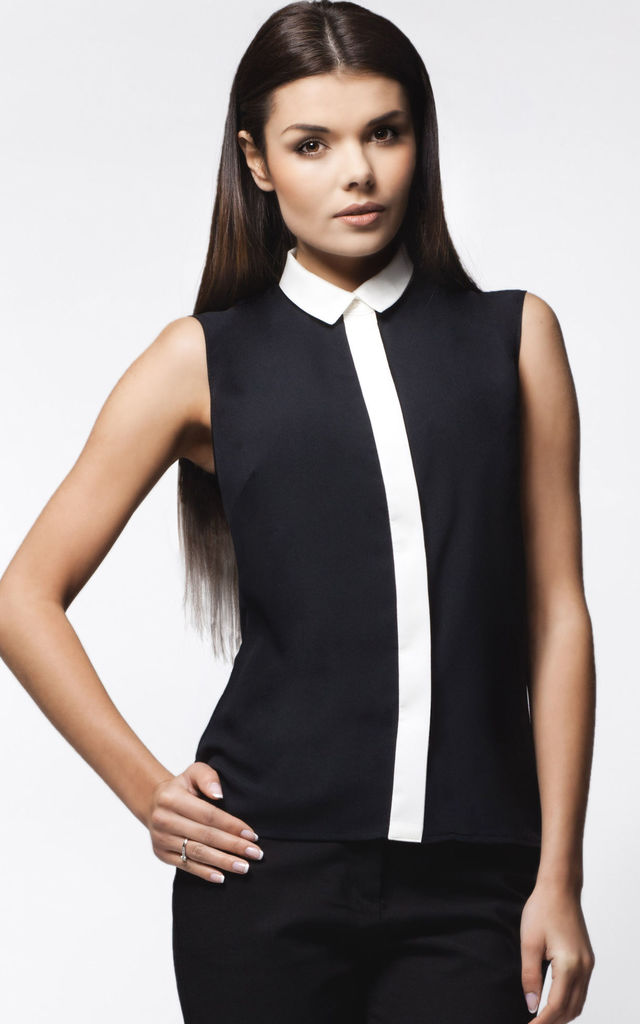 Black Sleeveless Shirt With Contrast Pleat And Collar by AWAMA