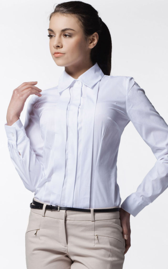 White Classic Elegant Longsleeves Shirt With Pleat by AWAMA