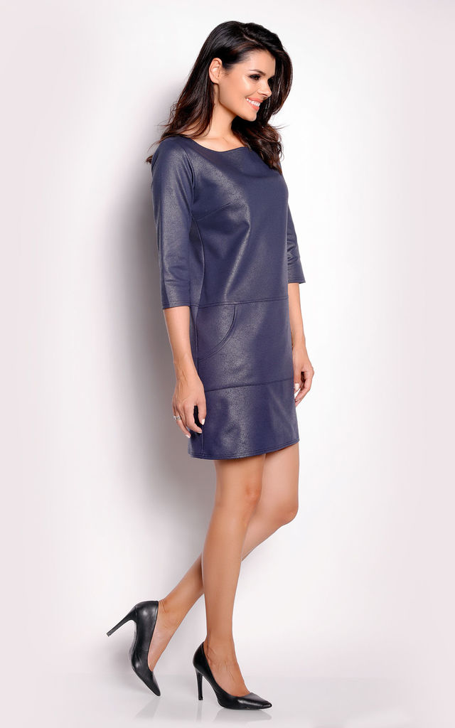 Navy Blue Suede Leather Dress With Boat-Neck by AWAMA