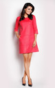 Pink Suede Leather Dress With Boat-Neck by AWAMA