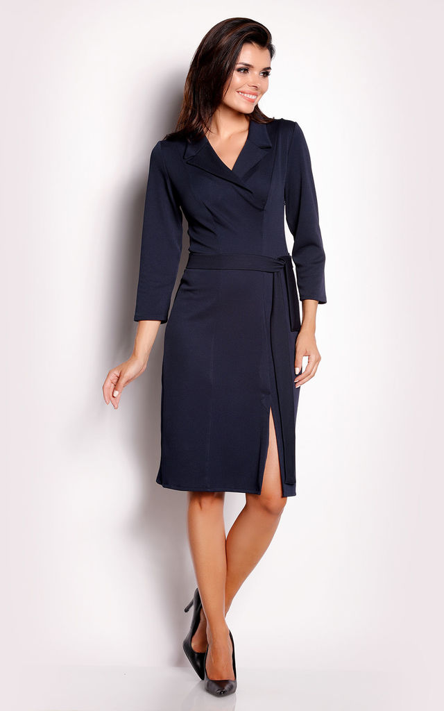 Navy Tie collared dress by AWAMA