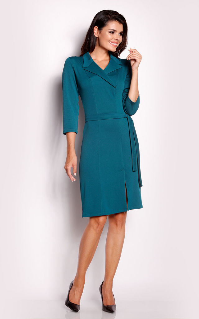 Emerald Green Tie collared dress by AWAMA